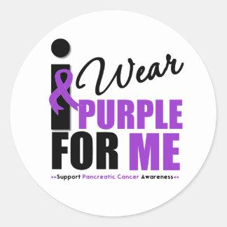 Cáncer pancreático llevo la cinta púrpura para mí pegatina redonda