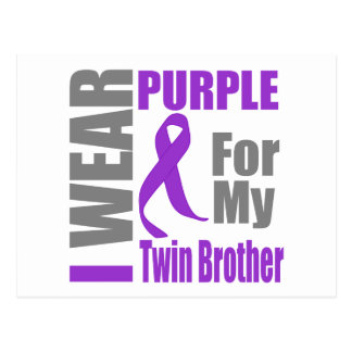 Cáncer pancreático llevo la cinta púrpura TwinBrot Tarjetas Postales