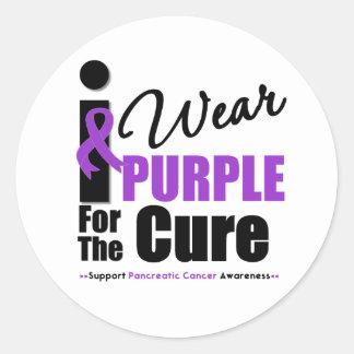 Cáncer pancreático llevo la púrpura para la etiqueta redonda
