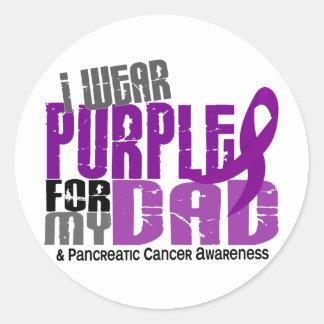 Cáncer pancreático llevo la púrpura para mi papá pegatina redonda