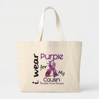 Cáncer pancreático llevo la púrpura para mi primo bolsa tela grande