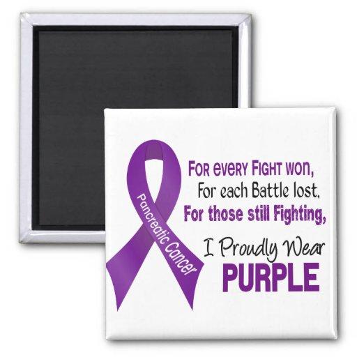 Cáncer pancreático llevo orgulloso púrpura imán cuadrado