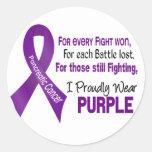 Cáncer pancreático llevo orgulloso púrpura etiquetas redondas