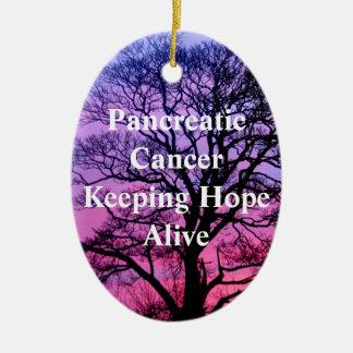 Cáncer pancreático que guarda el ornamento vivo de adorno navideño ovalado de cerámica