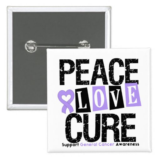 Cancer Peace Love Cure 2 Inch Square Button