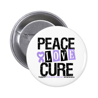 Cancer Peace Love Cure Pinback Buttons