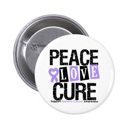 Cancer Peace Love Cure Pinback Button