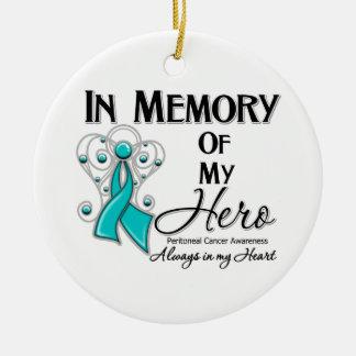 Cáncer peritoneal en memoria de mi héroe adorno redondo de cerámica