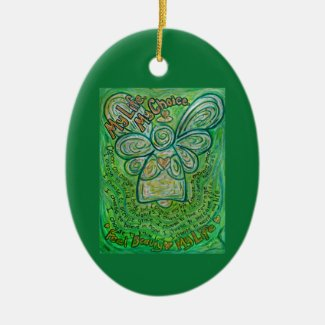Cancer Poem Green Angel Art Custom Gift Ornaments