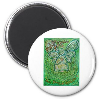 Cancer Poem Green Angel Art Custom Magnet