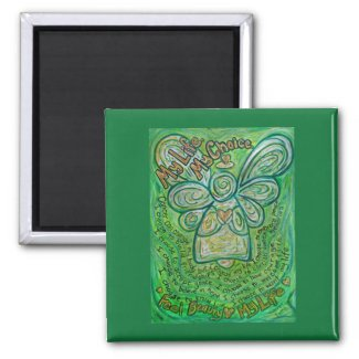 Cancer Poem Green Angel Art Custom Magnets