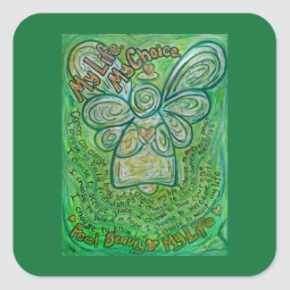 Cancer Poem Green Angel Art Sticker Decals