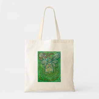 Cancer Poem Green Angel Art Tote Bag