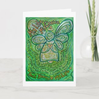 Cancer Poem Green Angel Custom Greeting Cards