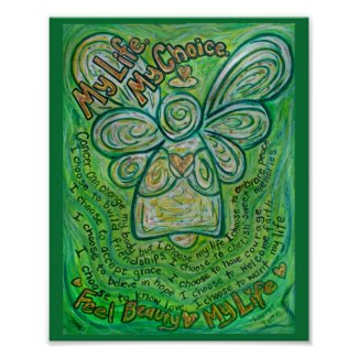 Cancer Poem Green Angel Painting Art Print Posters