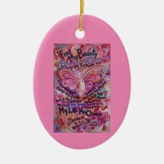 Cancer Poem Pink Angel Art Custom Gift Ornaments