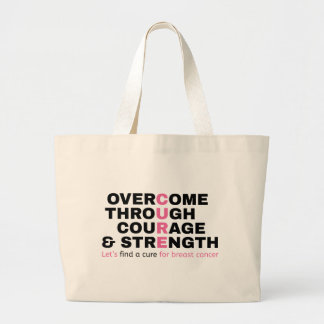 Cancer quote pink typography let's find a cure large tote bag