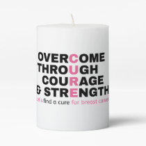 Cancer quote pink typography let's find a cure pillar candle