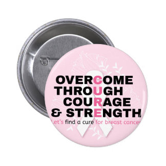 Cancer quote pink typography let's find a cure pinback button
