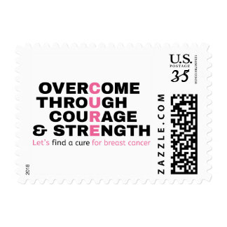 Cancer quote pink typography let's find a cure postage