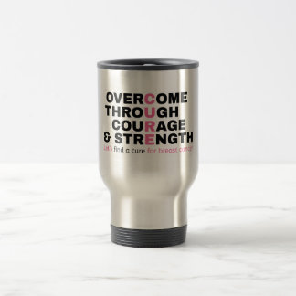 Cancer quote pink typography let's find a cure travel mug