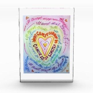 Cancer Rainbow Heart Art Custom Paperweight Award