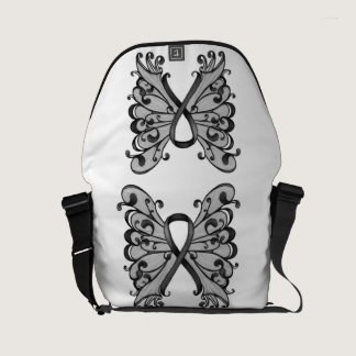 Cancer Ribbon Black with Butterfly Wings, Melanoma Small Messenger Bag