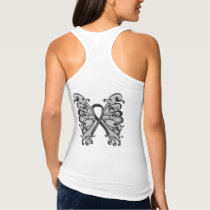 Cancer Ribbon Black with Butterfly Wings, Melanoma Tank Top