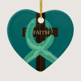 Cancer Ribbon Celebrates Faith & Remission Ceramic Ornament
