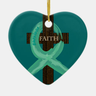 Cancer Ribbon Celebrates Faith & Remission Christmas Ornament