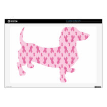 Cancer Ribbon Dachshund Laptop Decals