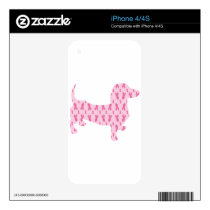 Cancer Ribbon Dachshund Skin For iPhone 4