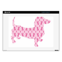 Cancer Ribbon Dachshund Skins For Laptops
