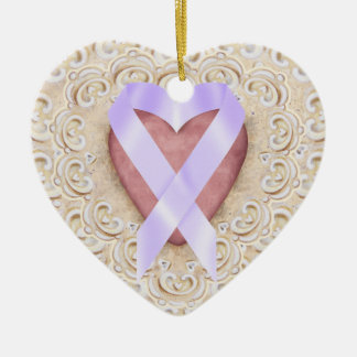 Cancer Ribbon From the Heart - SRF Double-Sided Heart Ceramic Christmas Ornament
