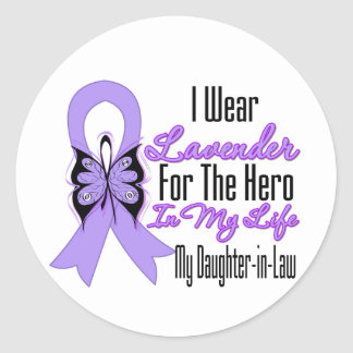 Cancer Ribbon Hero in My Life My Daughter in Law Classic Round Sticker