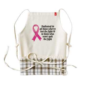 Cancer ribbon quote dedicated to cancer fighters zazzle HEART apron