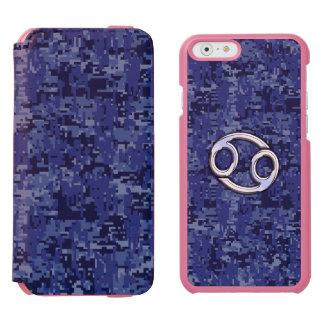 Cancer Sign on Navy Blue Digital Camouflage iPhone 6/6s Wallet Case