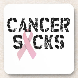 Cancer Sucks - Breast Cancer Ribbon Beverage Coaster
