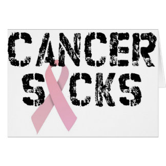 Cancer Sucks - Breast Cancer Ribbon Greeting Cards