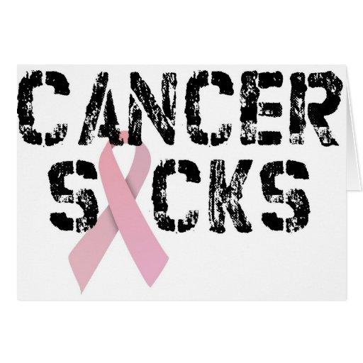 Cancer Sucks - Breast Cancer Ribbon Card