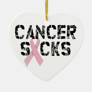Cancer Sucks - Breast Cancer Ribbon Double-Sided Heart Ceramic Christmas Ornament