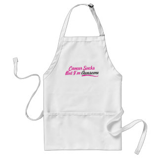 Cancer sucks But I'm awesome - pink typography Adult Apron