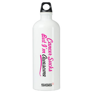 Cancer sucks But I'm awesome - pink typography Water Bottle