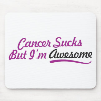 Cancer sucks but I'm awesome - purple typography Mouse Pad