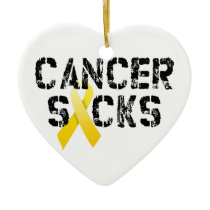 Cancer Sucks - Childhood Cancer Ribbon Ceramic Ornament