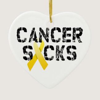 Cancer Sucks - Childhood Cancer Ribbon Ceramic Ornament