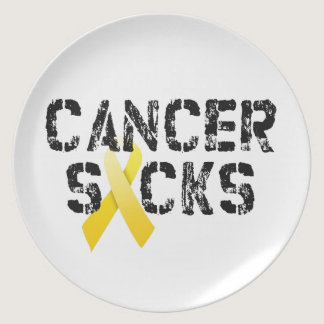 Cancer Sucks - Childhood Cancer Ribbon Dinner Plate
