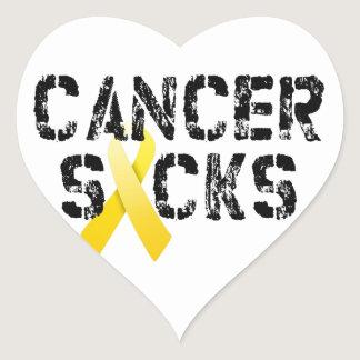 Cancer Sucks - Childhood Cancer Ribbon Heart Sticker
