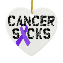Cancer Sucks - Hodgkin's Lymphoma Cancer Ribbon Ceramic Ornament