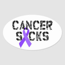 Cancer Sucks - Hodgkin's Lymphoma Cancer Ribbon Oval Sticker
